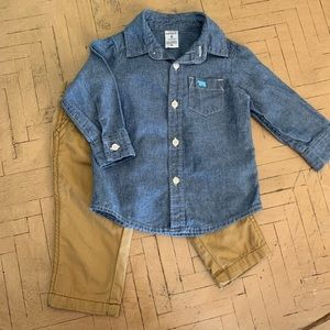 Carter's Baby Boy Chambray Shirt Khakis 9M Outfit
